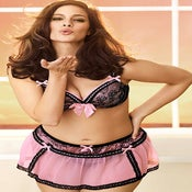 Image of Pink Sheer w/ Ribbon Triming Garter Skirt