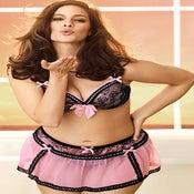 Image of Pink Sheer w/ Ribbon Triming Garter Skirt
