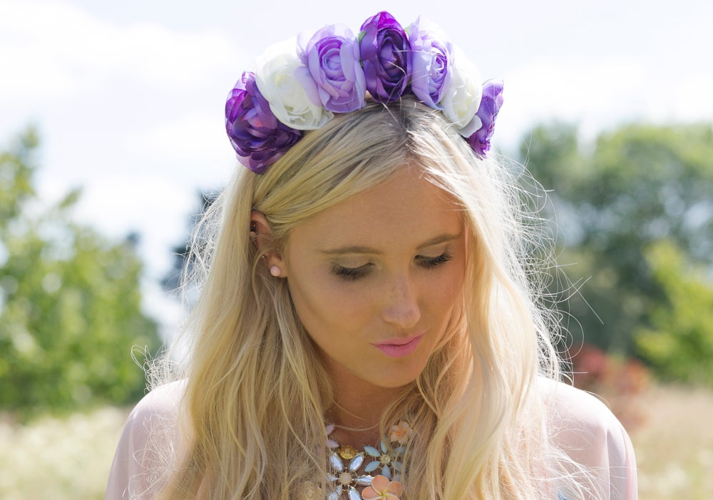 Image of Ava Peony Crown in Purple and Ivory