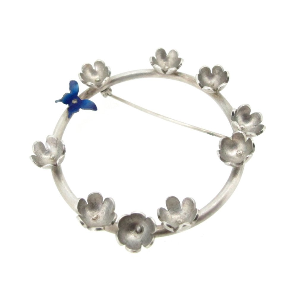Image of Springtime Butterfly & daisy circlet brooch