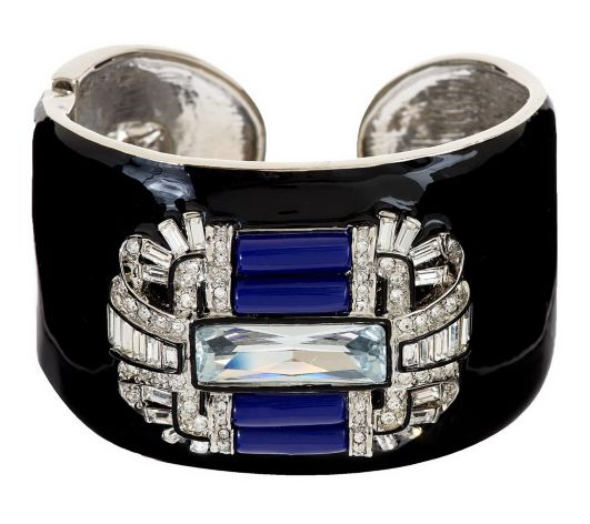 Image of SOLD Kenneth Jay Lane KJL Baguette Art Deco Lapis Onyx Cuff Bracelet