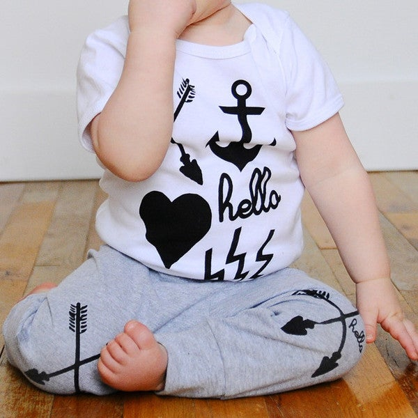 Image of Hello Apparel (Babies & Kids) Arrows Grey Leggings