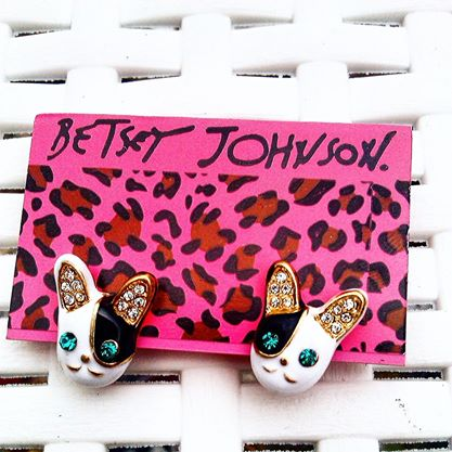 Image of Betsy Johnson French Bulldog ear rings