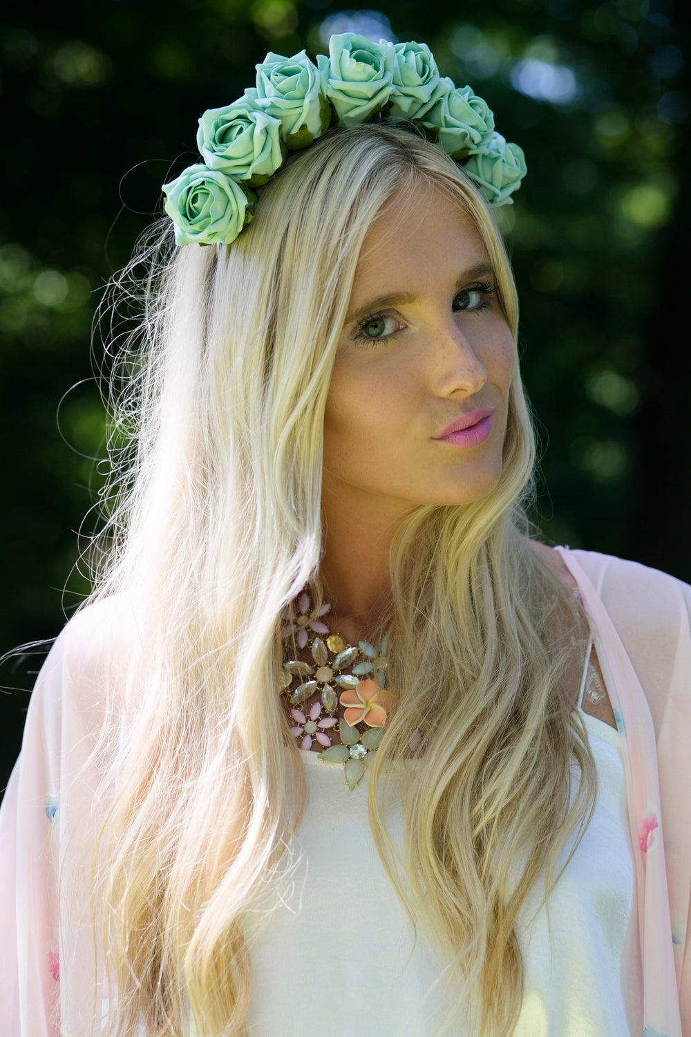 Image of Blooming Rose Crown Mint Green