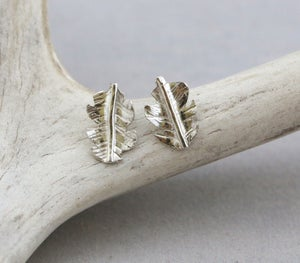 Image of Fine Silver Leaf Stud Earrings