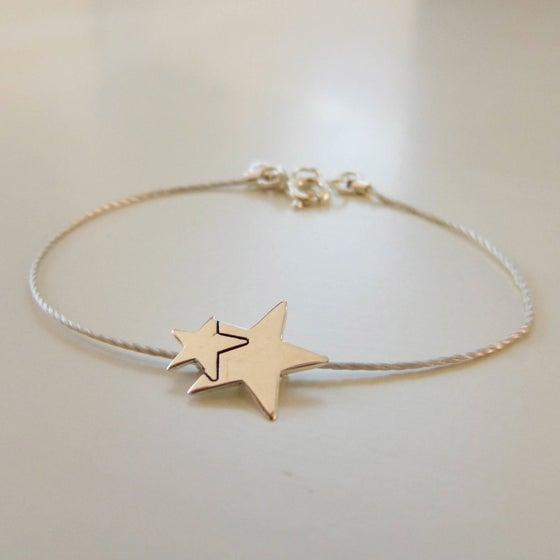 """Image of Bracelets en argent ou plaqué or """"deux étoiles"""""""