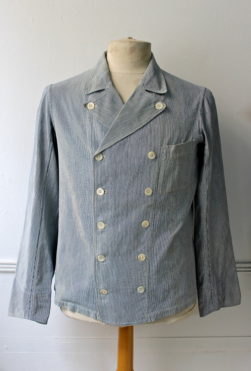 Image of 1900's FRENCH DOUBLE BREASTED WORK JACKET STRIPPED