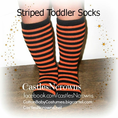 Image of Baby-Toddler Orange and Black Striped SOCKS for Halloween SOLD OUT!