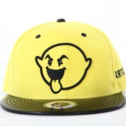 Image of Linear Boogie Leather Snapback - Yellow/Black
