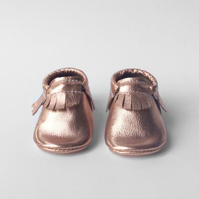 Image of (Pre-Order) Copper metallic leather moccasins