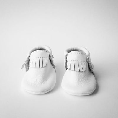 Image of (Pre-order) Pure White Leather Moccasins