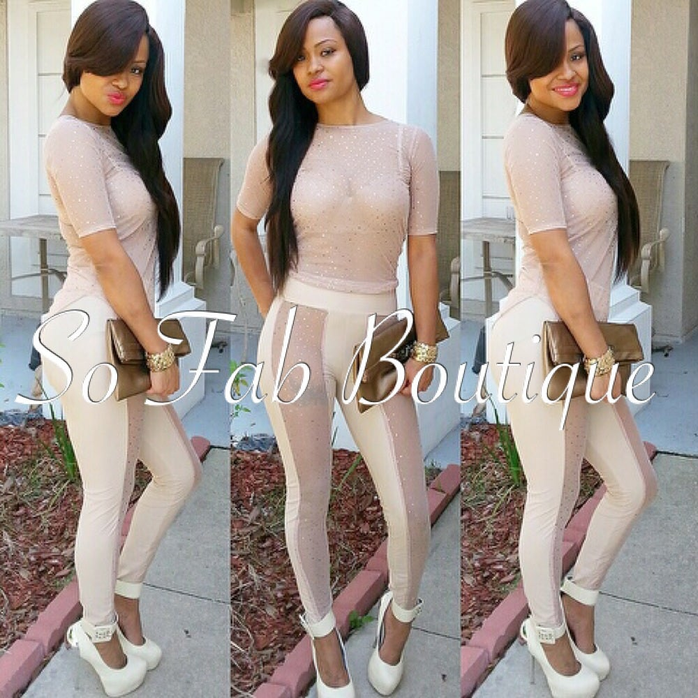 Image of Nude/Glitter Shirt and Legging Set