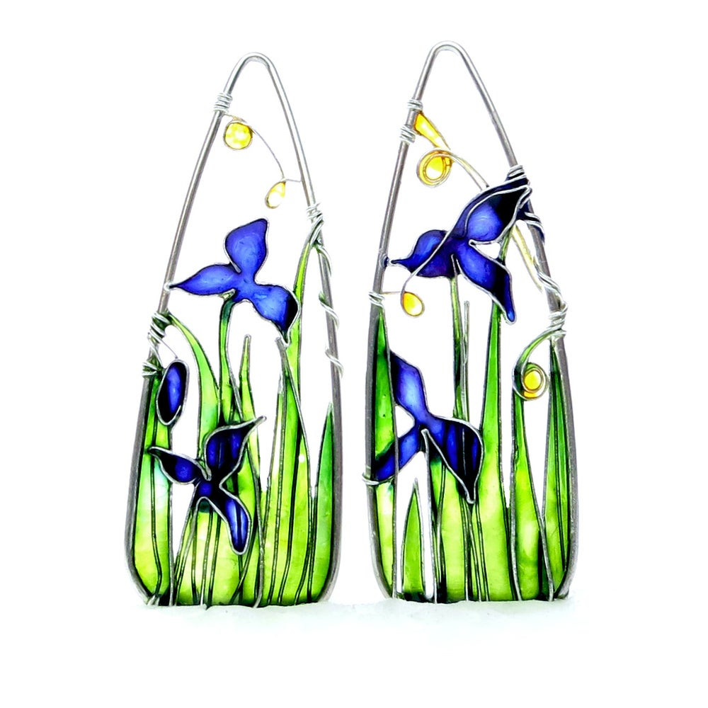 Image of Blue Iris Silver Earrings