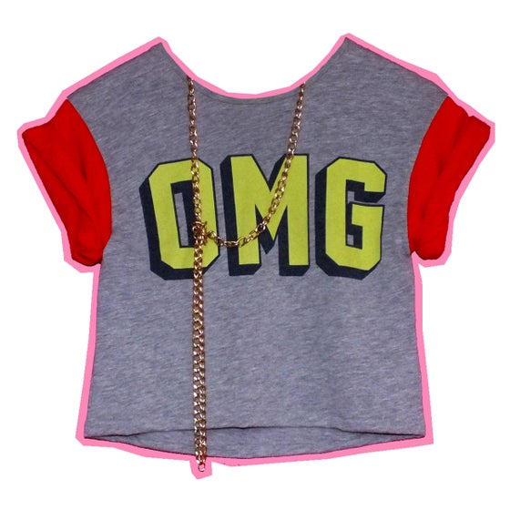 Image of OMG Crop Tee With Red Sleeves