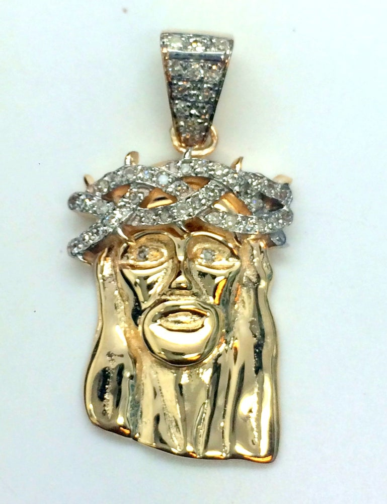 "Image of SALE Micro ""Corona de Espinas"" Gold Semi-Set Jesus Piece"
