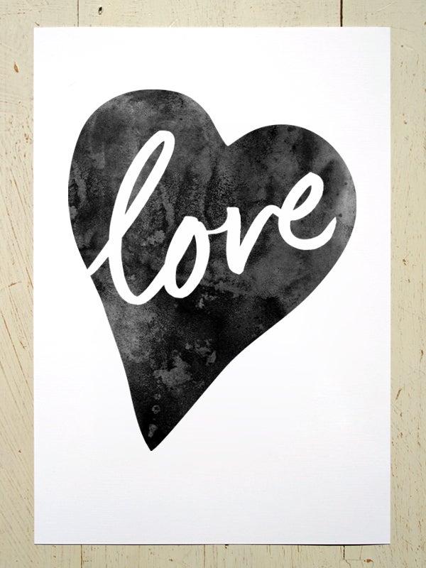 Image of Love Heart art print - Black
