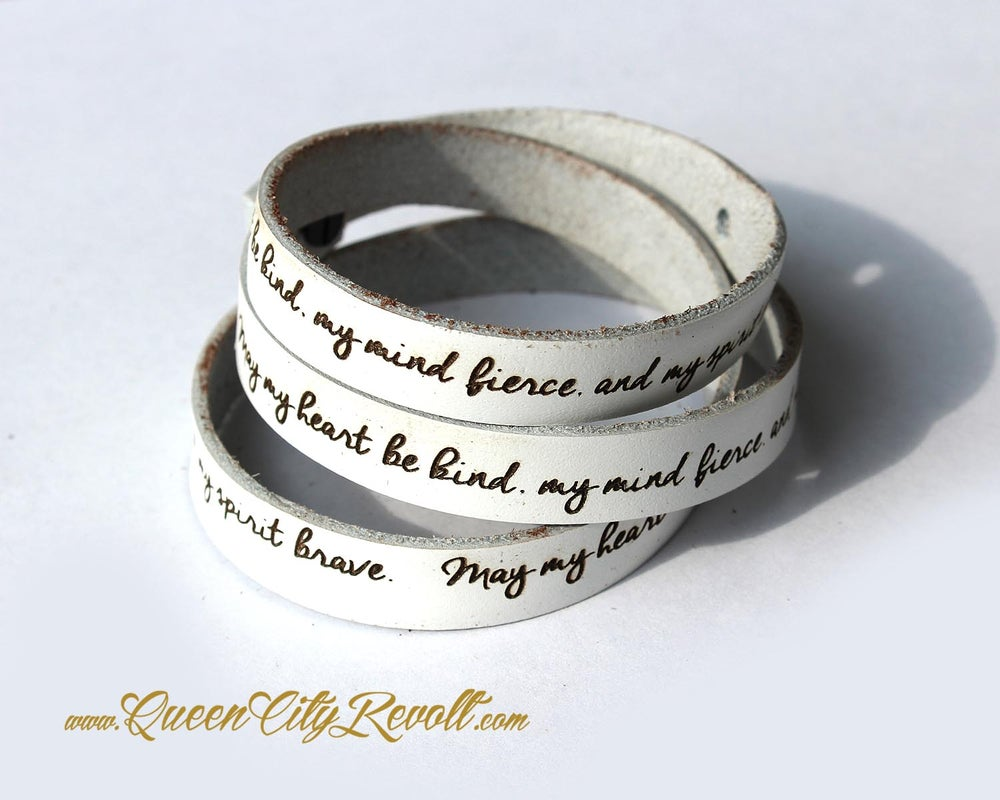 Image of White Leather Custom Engraving Wrap Bracelet, Script Text