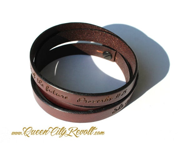 Image of Brown Leather Custom Engraving Wrap Bracelet, Script Text