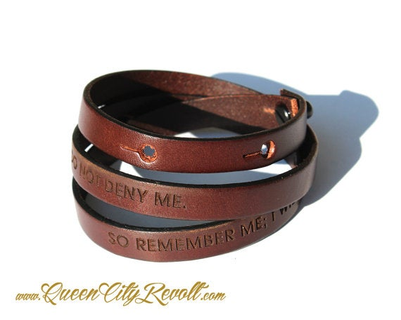 Image of Brown Leather Custom Engraving Wrap Bracelet, Block Text