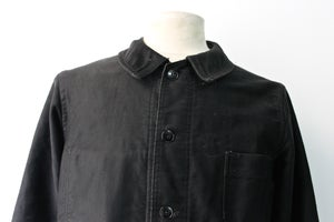 Image of 1950'S FRENCH BLACK MOLESKIN WORK JACKET FADED