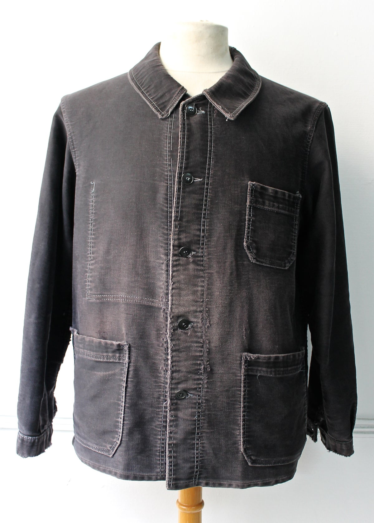 Image of 1920'S FRENCH BLACK MOLESKIN WORK JACKET FADED