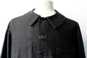Image of 1920'S FRENCH BLACK MOLESKIN WORK JACKET FADED & PATCHED