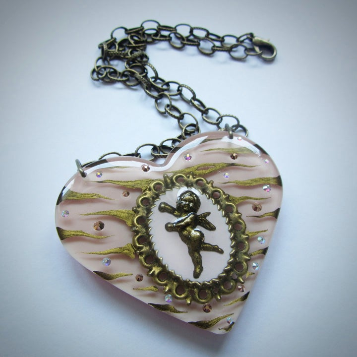 Image of Pale Pink Zebra Cameo Resin Heart Pendant