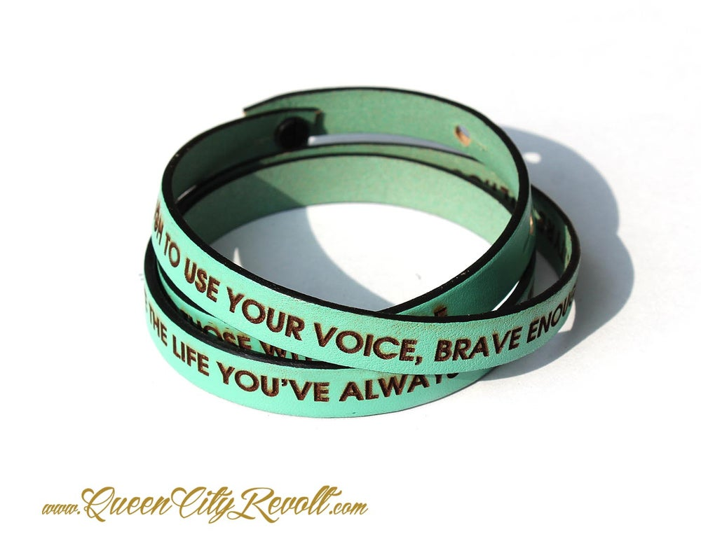Image of Mint Green Leather Custom Engraving Wrap Bracelet, Block Text