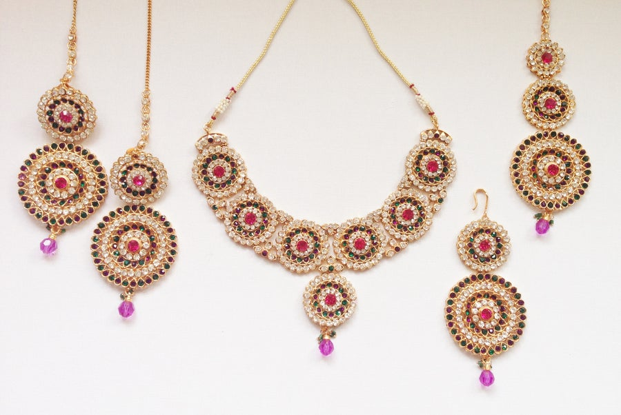 Image of 'Eccentric' Necklace Set- Earrings, Tikka, Jhoomer