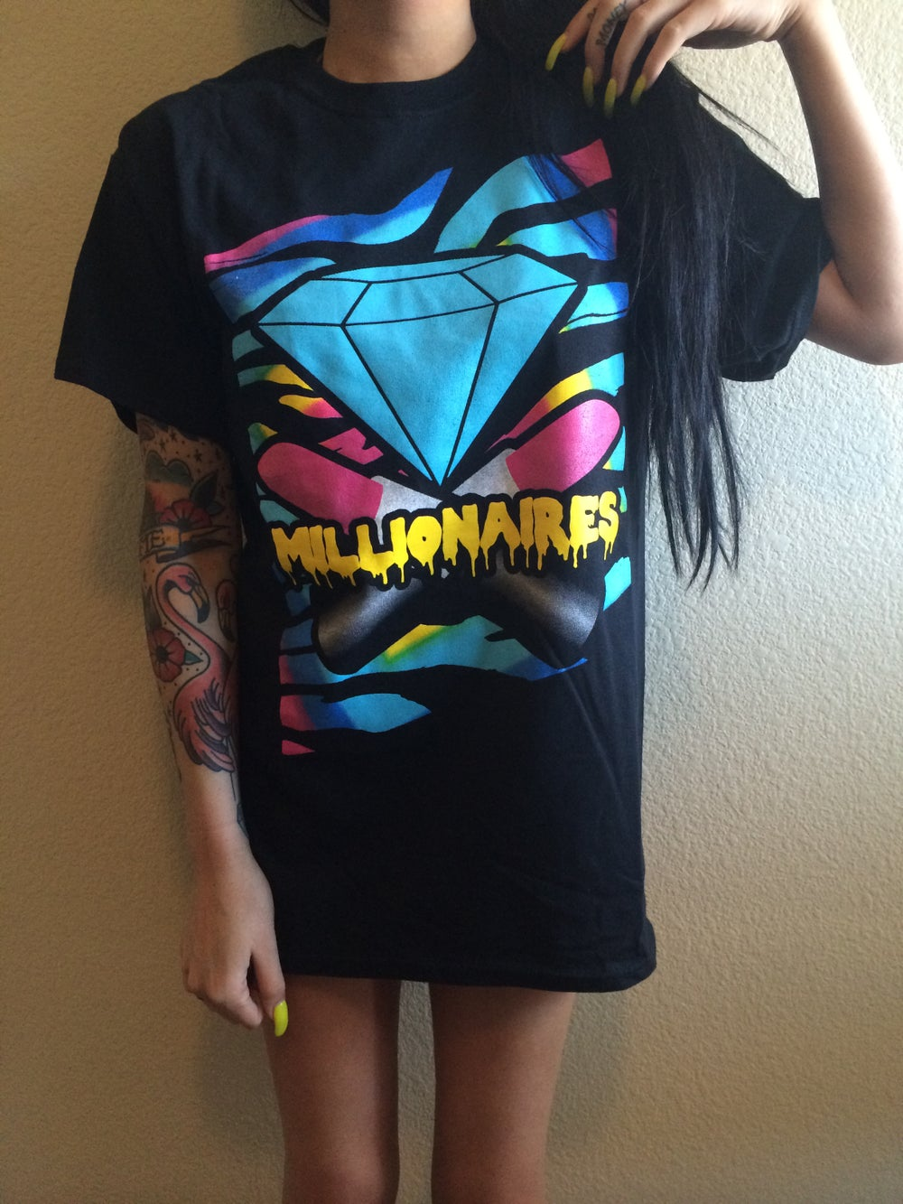"Image of Millionaires ""Party Rave"" Black Tee"