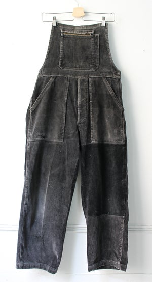 Image of 1940'S FRENCH BLACK CORDUROY OVERALL FADED & PATCHED