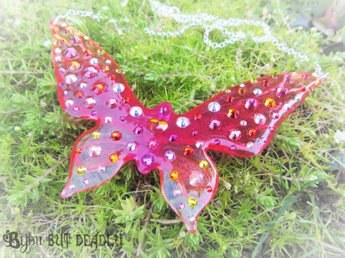 Image of Astral Pink Ombre Butterfly Large Resin Pendant