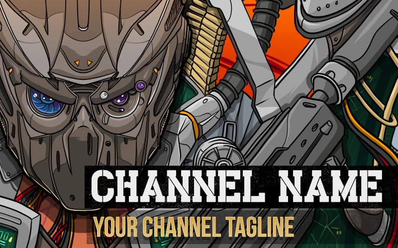 "Image of ""Robotic"" Premium YouTube Banner Template"