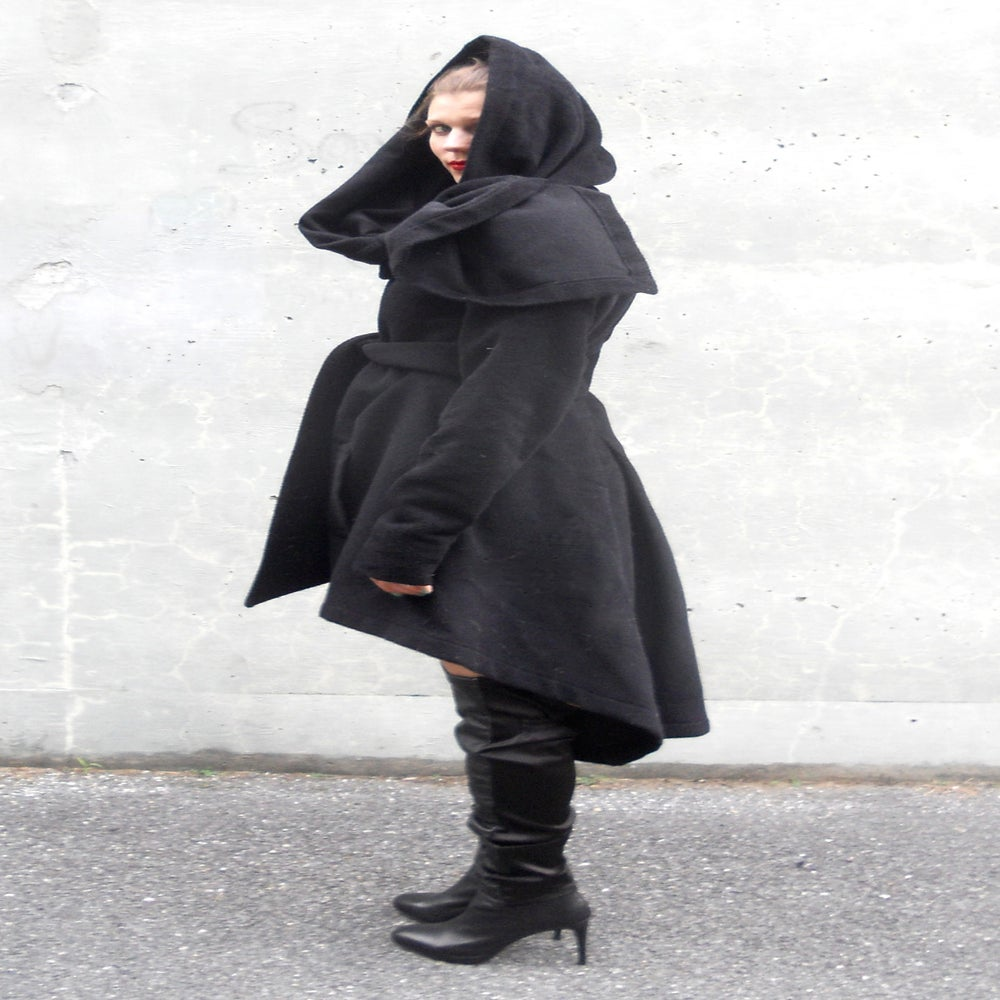 Image of Maria Severyna Cascading Hemline Wool Jacket Coat
