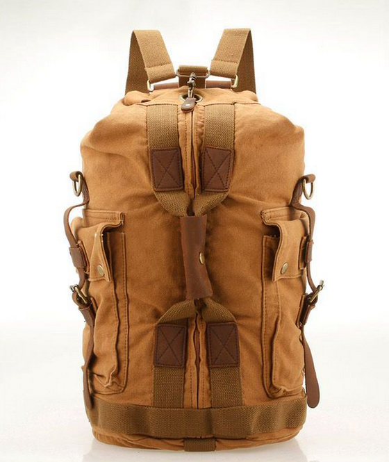 Image of VINTAGE CANVAS HIKING TRAVEL MILITARY BACKPACK MESSENGER TOTE BAG L120