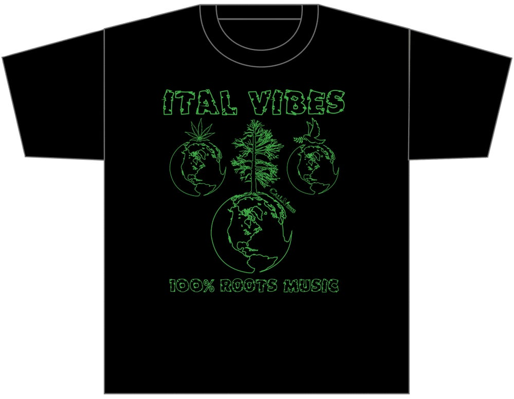 "Image of ITAL VIBES ""100% ROOTS MUSIC"" BLACK SHIRT"