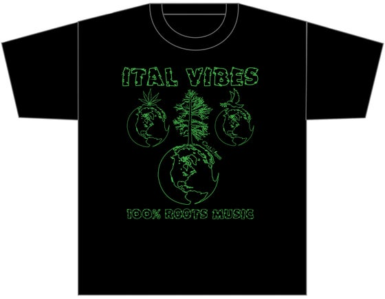 """Image of ITAL VIBES """"100% ROOTS MUSIC"""" BLACK SHIRT"""