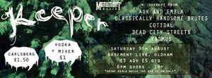 Image of KEEPER + ASK AND EMBLA + CLASSICALLY HANDSOME BRUTES + DEAD CITY STREETS + KADMUS