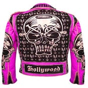 Image of  MV Hot Pink Evil Leather Jacket.