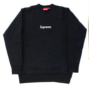 Image of Navy/Navy Box Logo Crewneck