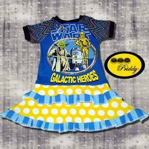 Image of **SOLD OUT**Star Wars Galactic Heroes Double Ruffle Dress - size 3/4