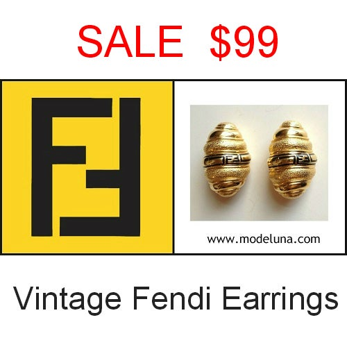 Image of SOLD Fendi Vintage Signed Earrings- HUGE!!