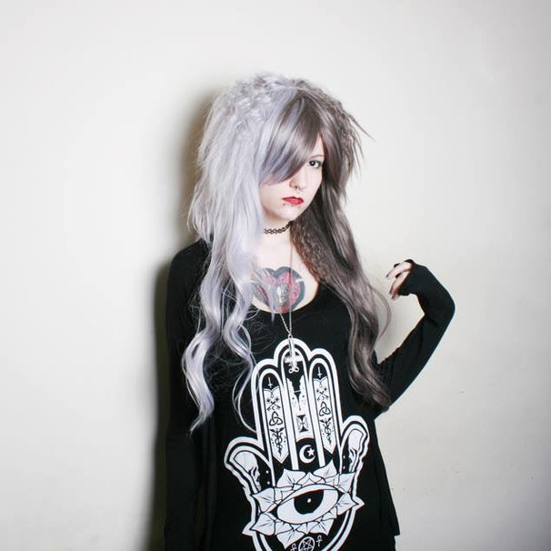 Image of Wood Witch, Grey Silver Split Mix Crimped Waves Grunge Shironuri Gothic Lolita Cosplay Wig