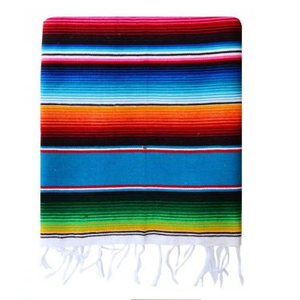 Image of Mexican Serape, Baja Teal Blue