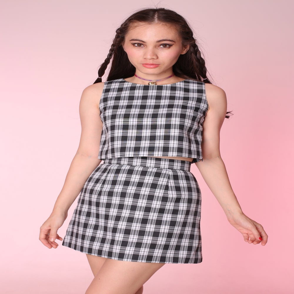 Image of Made To Order - Charli Black & White Tartan 2 Piece Set