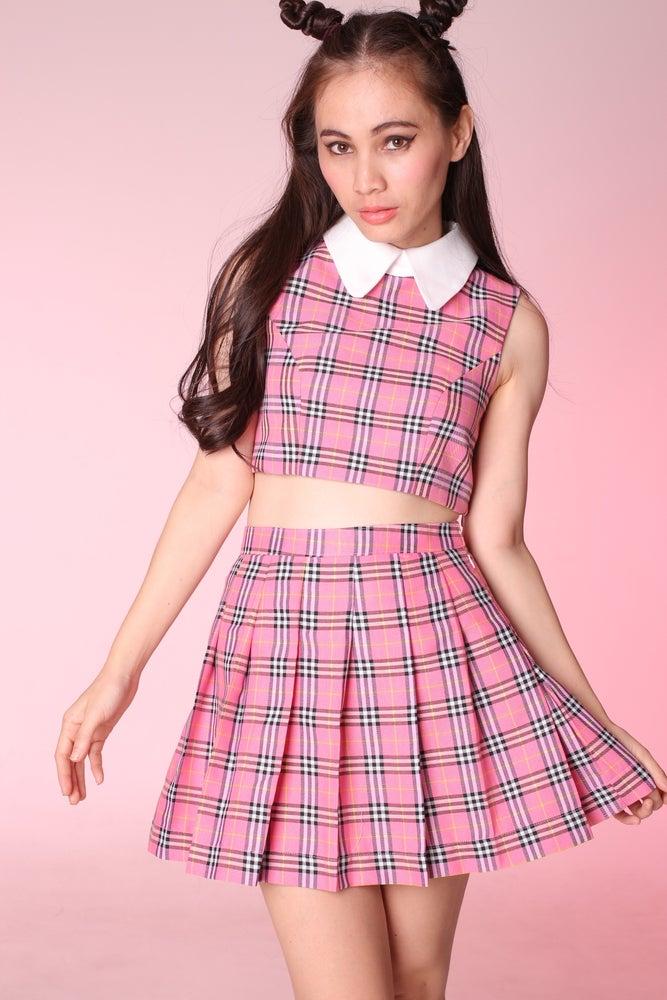 Image of Made To Order - As If Sleeveless Set in Pink Tartan