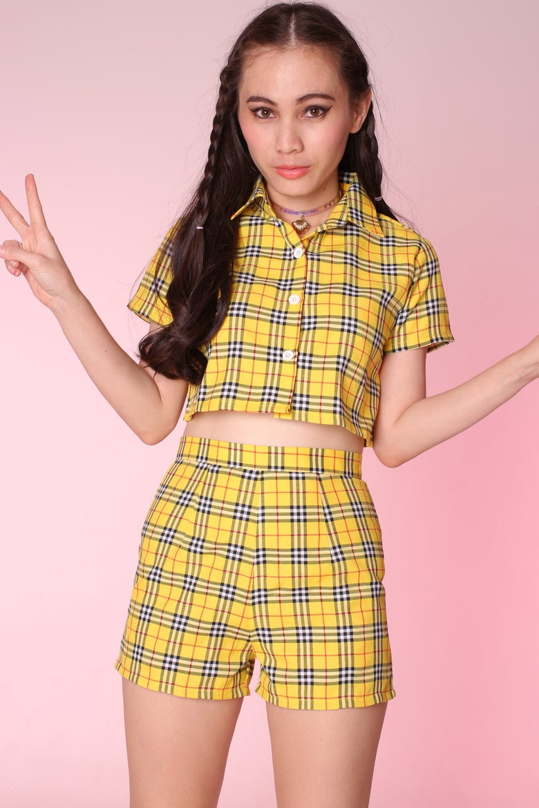 Image of Katie Yellow Tartan Top & Shorts Set