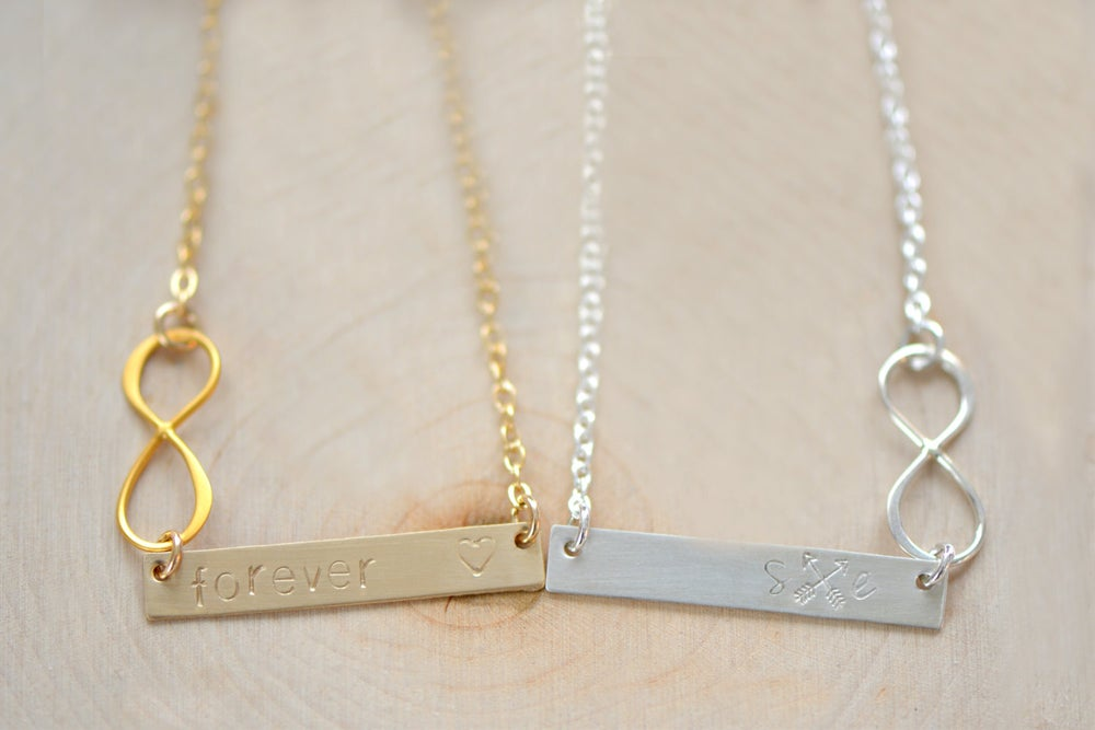 Image of Personalized Bar Necklace, Infinity Name Plate Necklace , Rectangle Bar Necklace