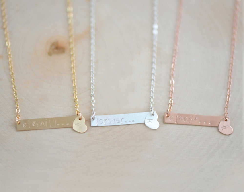 Image of Personalized Bar Necklace, Name Plate Necklace , Rectangle Bar Necklace