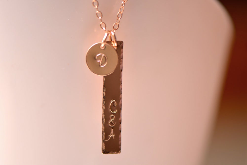 Image of Personalized Rose Gold Bar Necklace, Dainty Rose Gold Filled Necklace